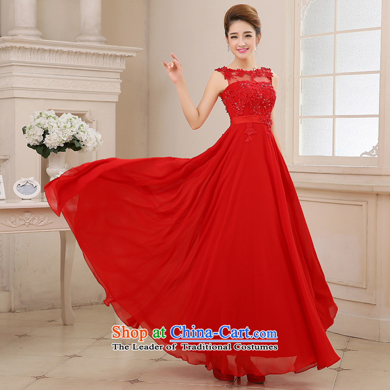 Wedding dresses bride first field lace bows services shoulder Festival Evening Compere dress to align the girl chiffon large petticoats temperament large red?XL