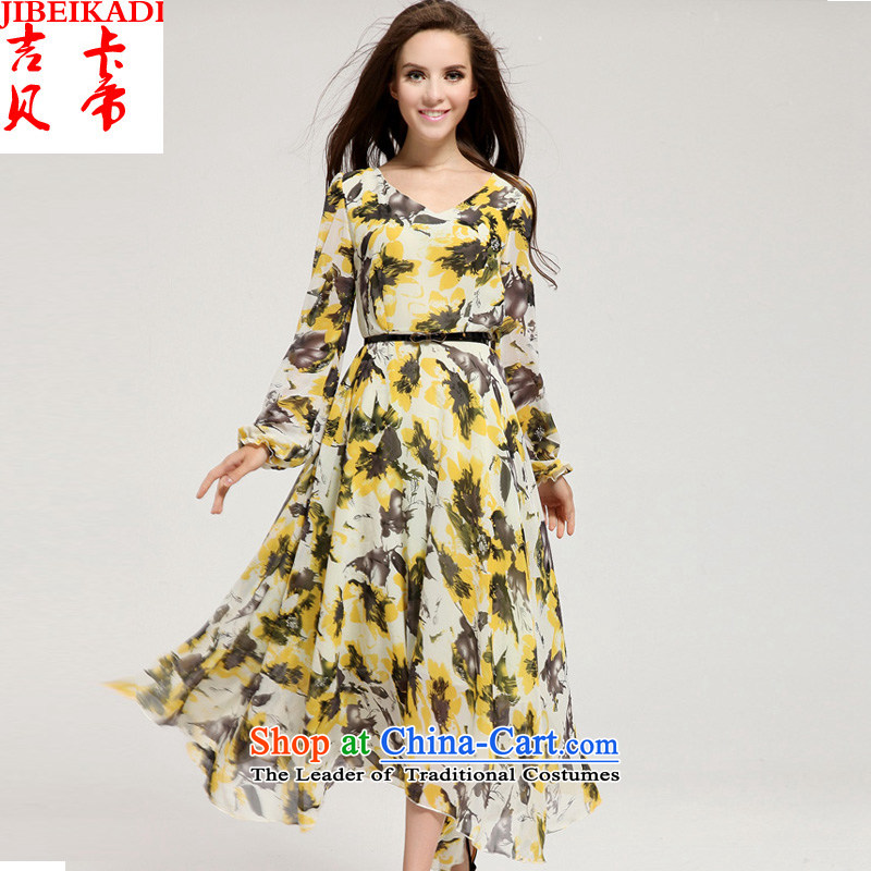 Gibez Card Dili spring and summer real concept long-sleeved premium Korean leaves stamp large dresses Wong To Suit?M lap