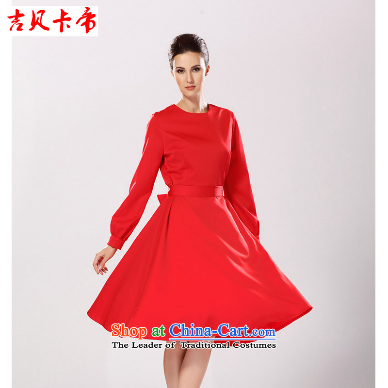 Gibez Card Dili autumn and winter female decorated in female skirt round-neck collar long-sleeved elegant red large dresses red?XL