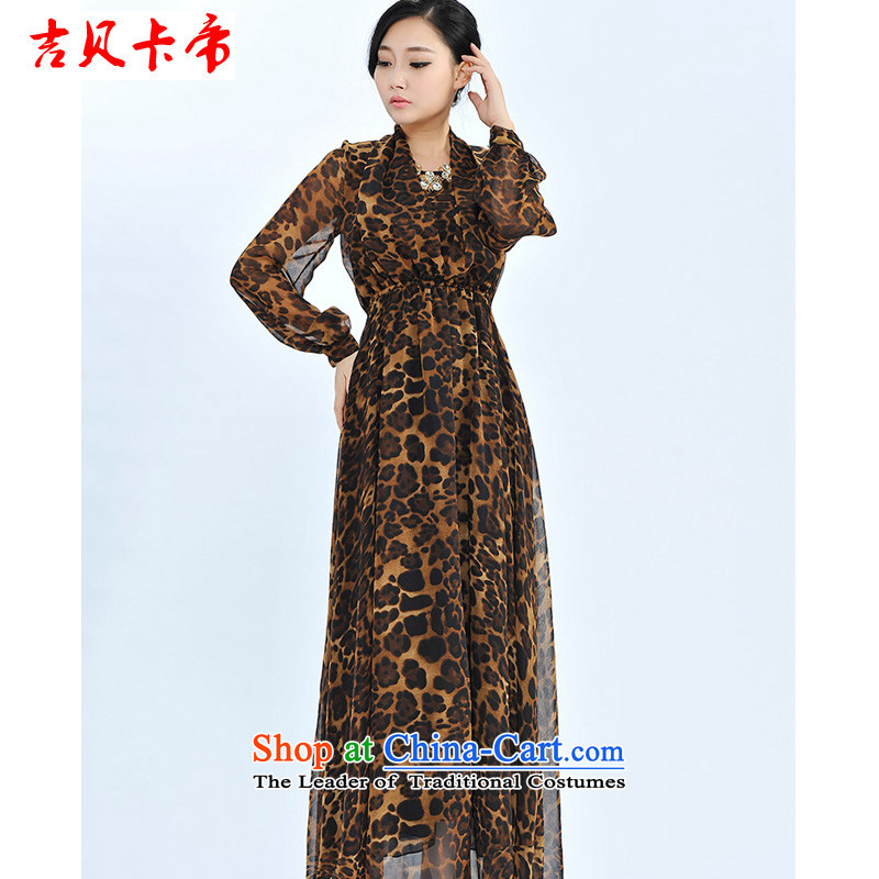 Gibez card empire model real patted three long-sleeved heap heap for advanced woven dresses leopard L