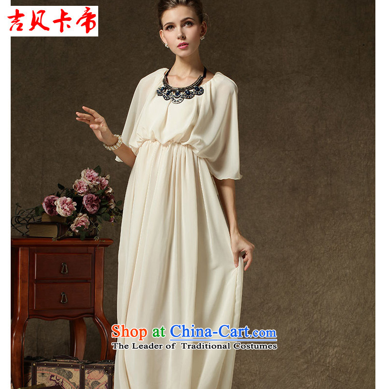 Gibez Card Dili advanced chiffon dresses dress solemn ultra-long skirt with respect to the link apricot�M