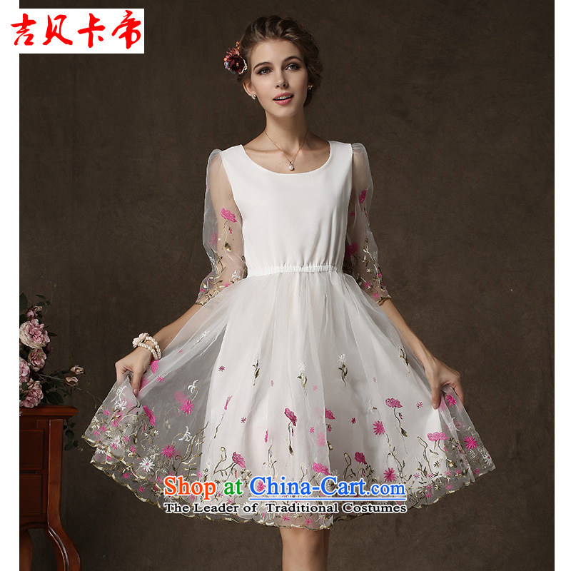 Gibez card in Dili, forming the autumn and winter in Cuff Positioning through a single flower advanced European root yarn dresses picture color?XL