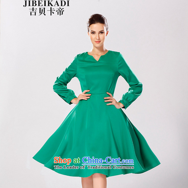 Gibez Card Dili gibez card in Dili with stylish European and American autumn V-Neck Top Loin of Sau San video in the waistband thin long skirt female green�L