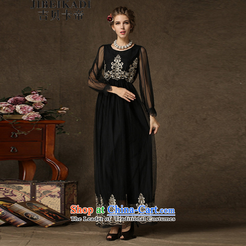 Gibez Card Dili Gibez Card Dili retro gold wire embroidered long-sleeved dresses and gauze engraving dragging long skirt black?L