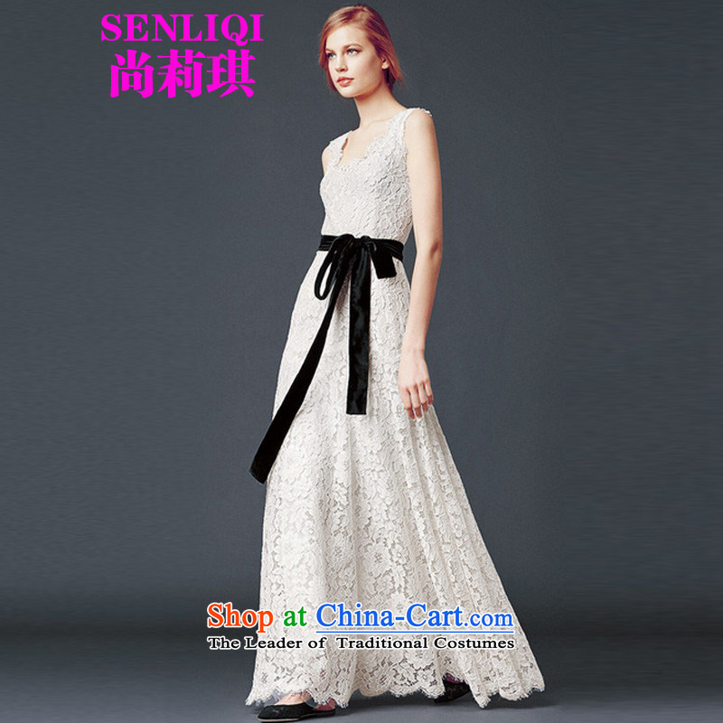 Yet Liqi�tasteful minimalist modern 2015 Sau San new women's black velvet waistband lace long skirt wedding services 8807 White�M
