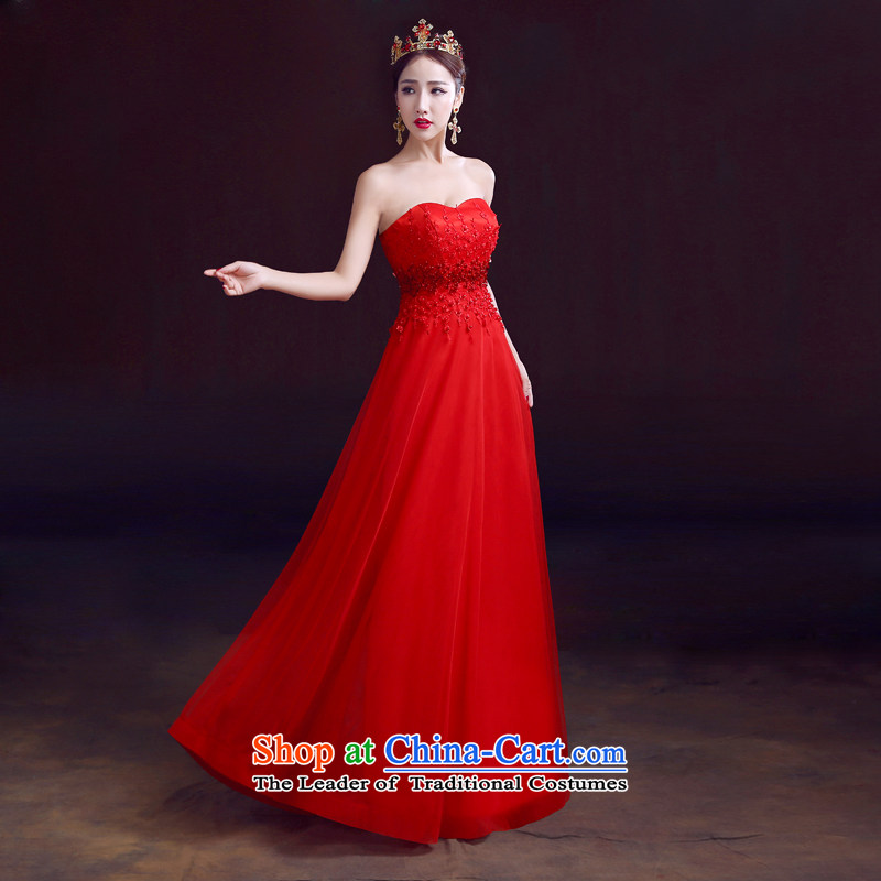 The dumping of the wedding dress wedding dresses new 2015 spring wiping the chest to Korean dresses bride Top Loin of bows pregnant women dress evening dresses red red?XS