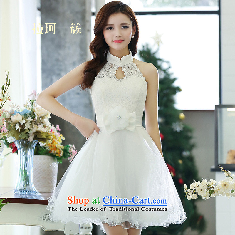 Pull the spring of Memnarch new bride bows services also Hang Sau San video thin bon bon PETTICOAT short skirts, field and sexy banquet dinner dress white?L