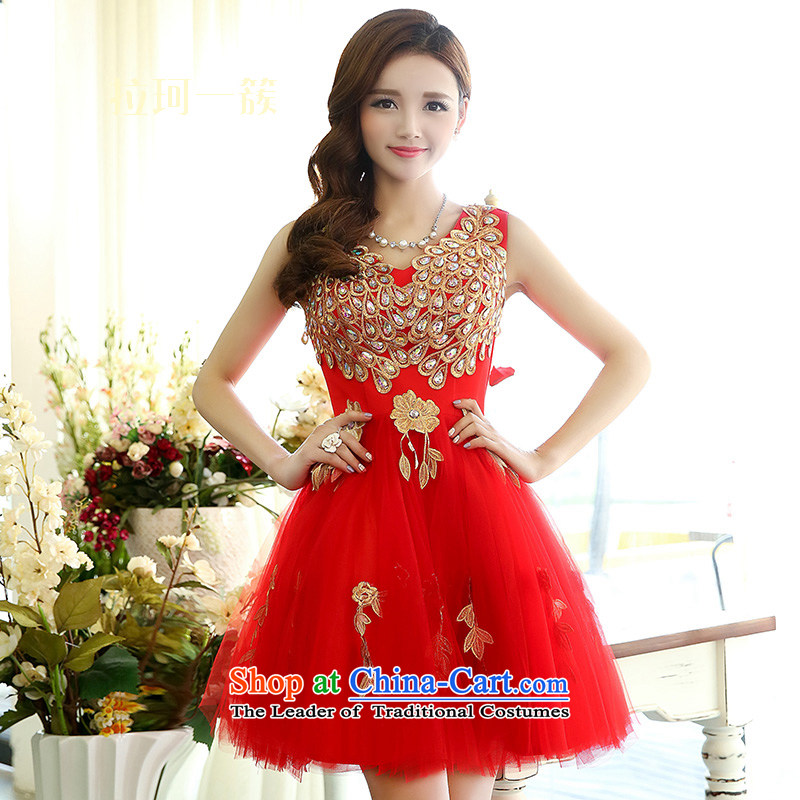 Pull the�  Spring Festival 2015, a cluster of Memnarch long-sleeved red lace dresses Sau San video thin bows new), Female large red dress skirt�M