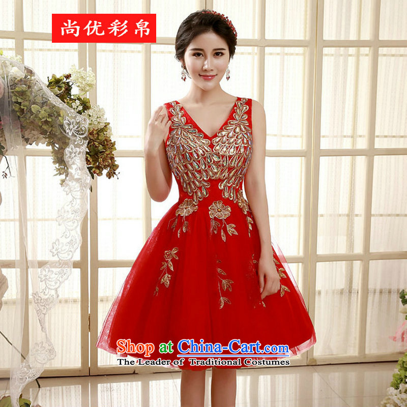 There is also optimized 8d dress 2015 new shoulders lace Sau San spring and summer short, under the auspices of the betrothal dress xs5546 RED?M