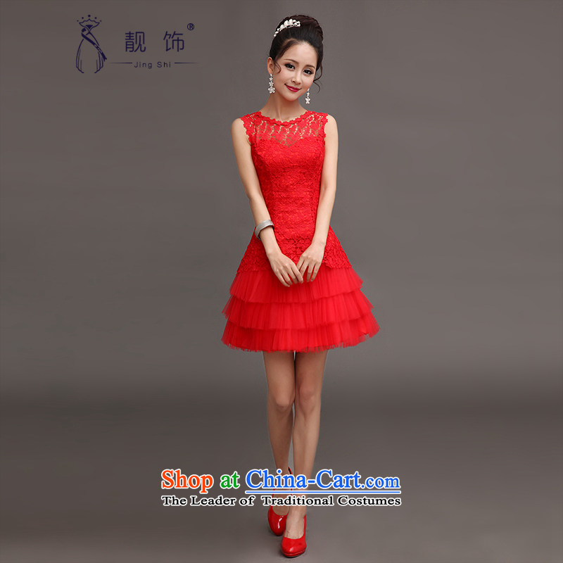 International dress talks 2015 new short, red dress uniform Korean brides bows shoulders lace bridesmaid mission Dress?Code Red S