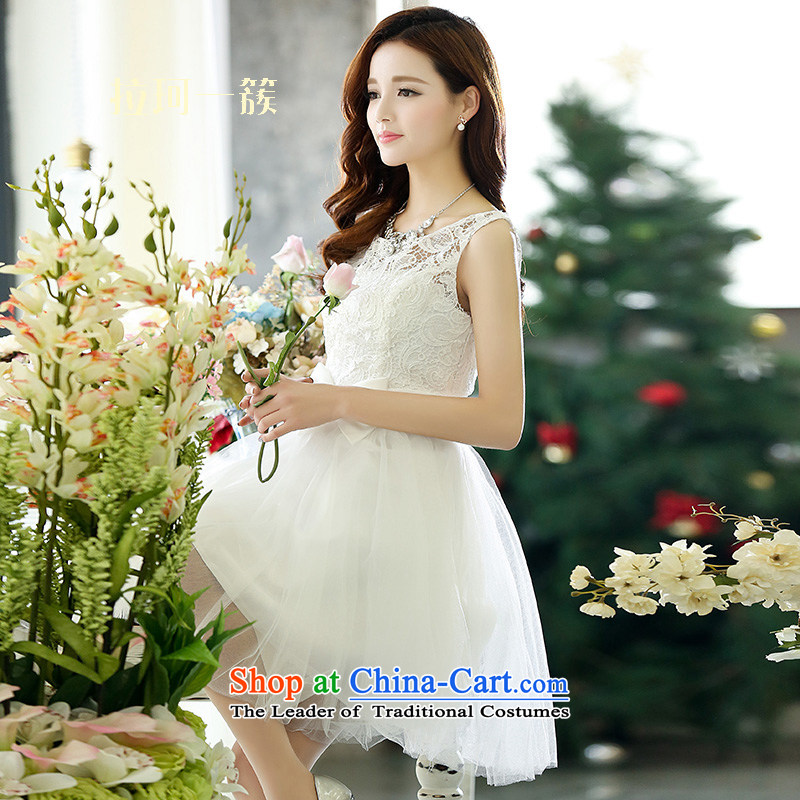 Pull a cluster of Memnarch?  2015 Spring/Summer embroidery OSCE root yarn sleeveless tank dresses ultra-bon bon skirt wear bridesmaid small dress performances services white?S