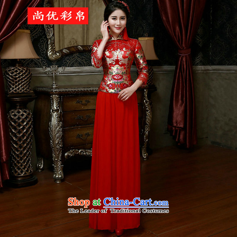 There is also optimized 8D 2015 Spring) Bride in the Cuff red retro qipao bows to Chinese Long Sau San wedding dress xs2550 red?XL