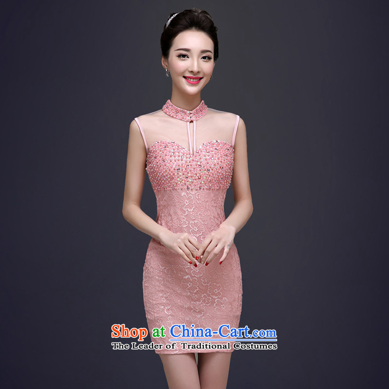 The privilege of serving-leung 2015 Spring Summer Female dress bows service_ TOASTMASTER banquet dinner dress pink?M