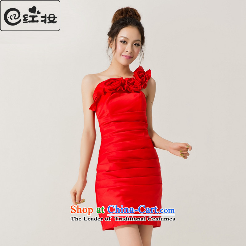 Recalling that the red bridesmaid Dress Short Colombia) 2015 new graphics thin spring evening dresses Korean married wedding services L12045 bows red?S