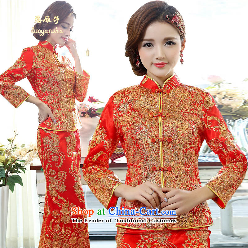 Lok Yan Sha Women 2015 Wedding Dress Shirt dresses stitching Lace Embroidery luxurious and elegant stylish elegance perfect Sau San Red?XXL