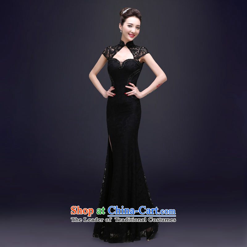 The privilege of serving the new 2015-Leung Chiu upscale banqueting evening dresses long concert moderator Sau San crowsfoot dress female Black?XL