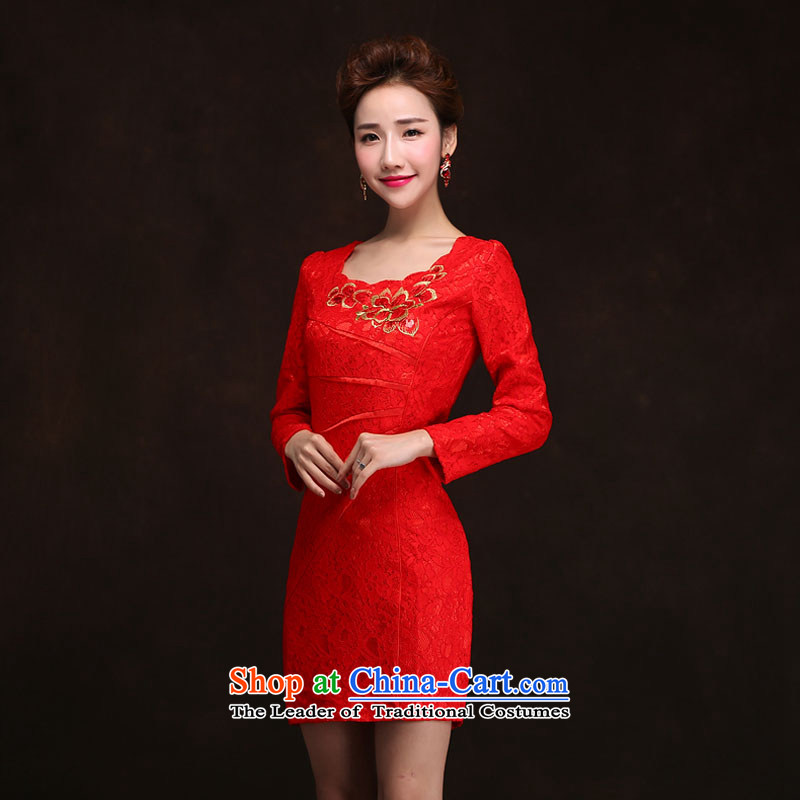 Qing Hua yarn Korean New cheongsam dress 2015 spring, long-sleeved brides marriage bows to the summer evening red door skirt red XXL