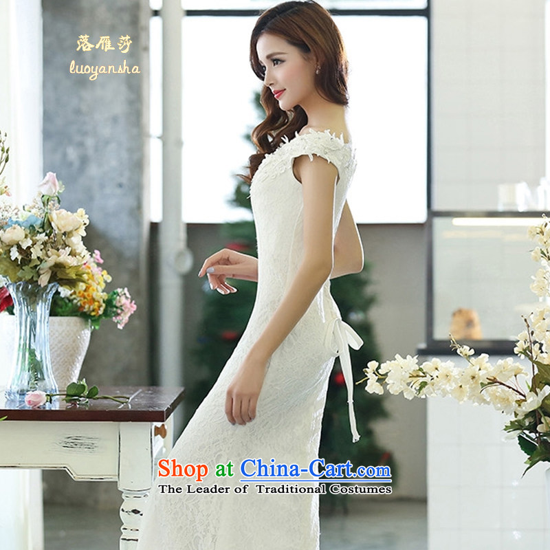 Lok Yan Sha�  2015 Spring new women's temperament nightclubs and sexy elegant beauty sleeveless dresses dress long skirt bows services white�L
