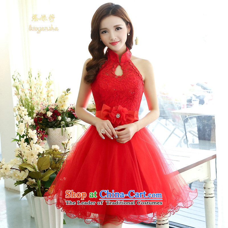 Lok Yan Sha moderator evening dress Company Annual Spring 2015 new bride bows services bon bon skirt bridesmaid Dress Short, Red�XL