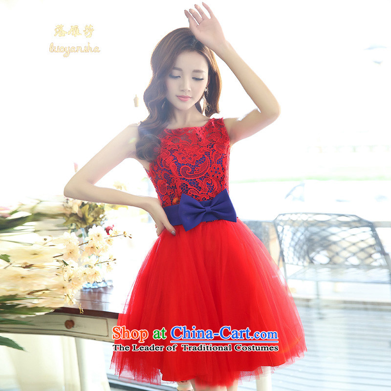 Lok Yan Sha�  2015 Spring/Summer sleeveless jacket embroidered dress bon bon skirt wear bridesmaid small dress with the red and blue service performances�XL