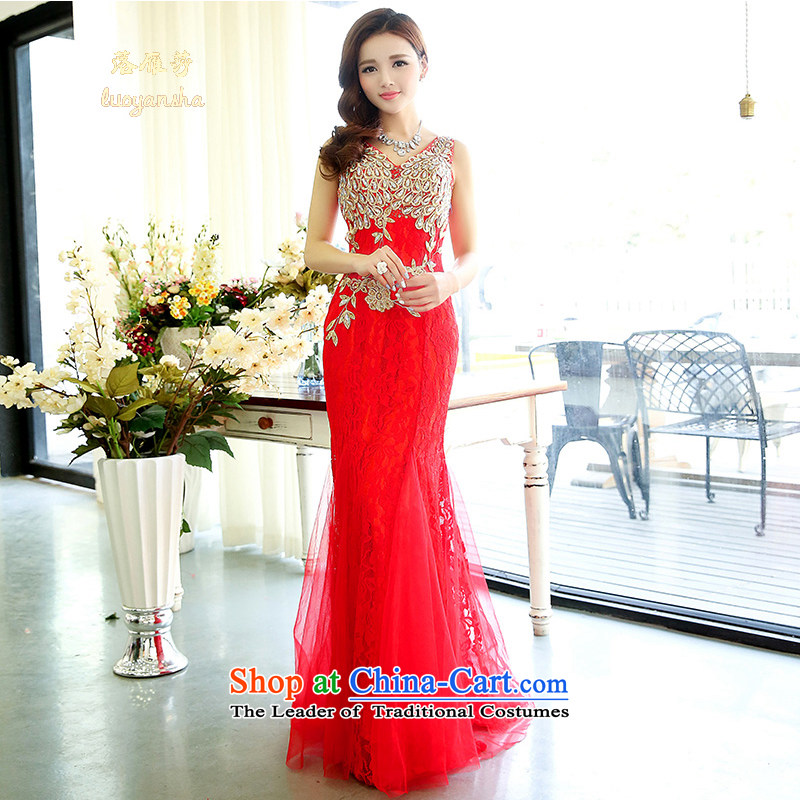 The Lok Yan Sha?  2015 new spring and autumn, sexy V-Neck upscale red lace crowsfoot Sau San marriages long bows dress large red?L