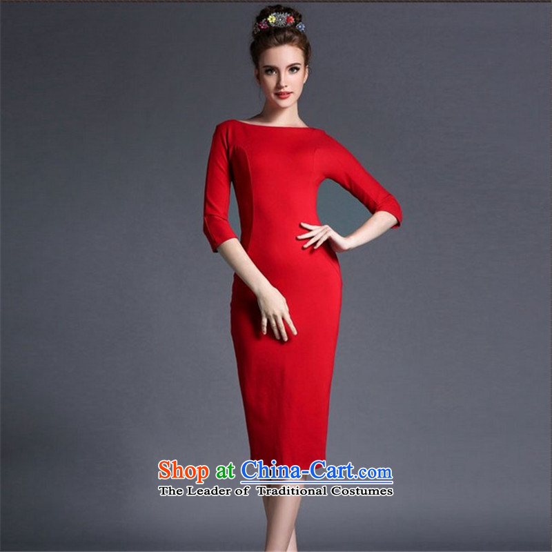 Connie, Texas?summer 2015 new Korean fashion dress in the retro long skirt deep red?S