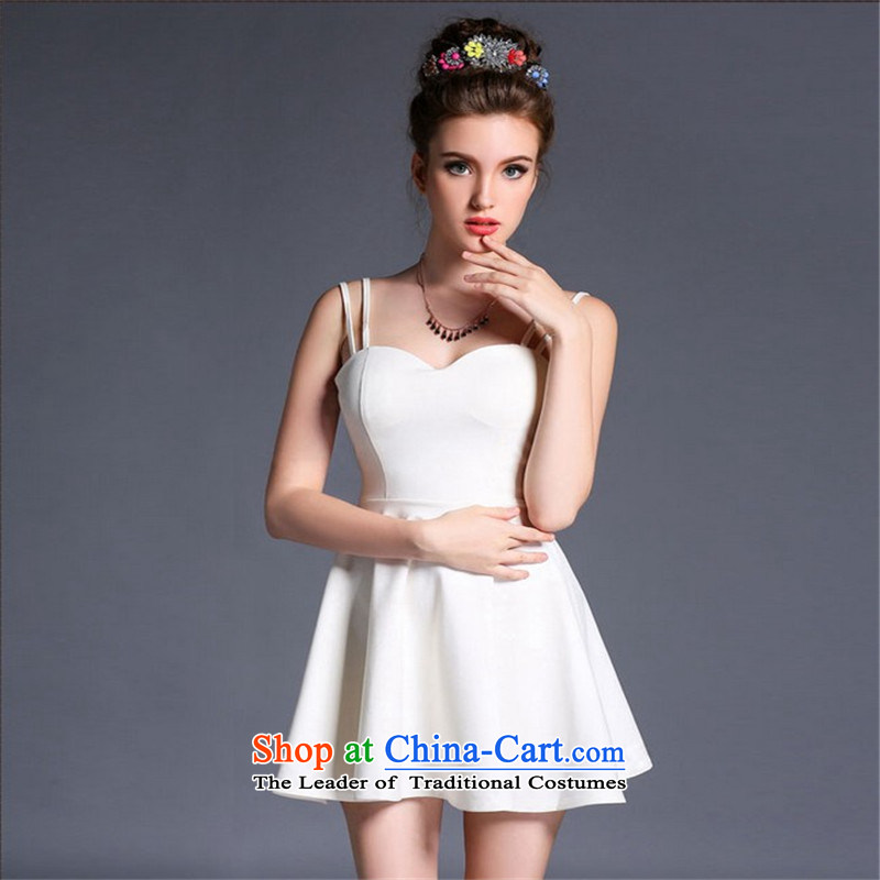 Connie, Texas?2015 new western sexy back and chest low-wrapped straps short skirts and skinny graphics, forming the dress bare shoulders dresses white?S