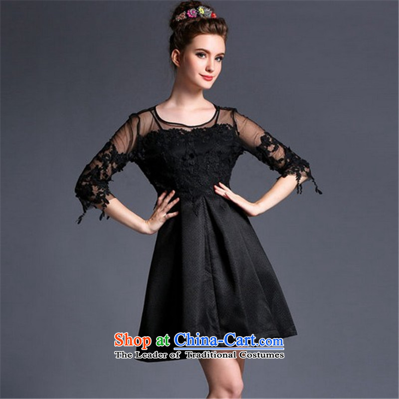 Connie, Texas real concept for summer 2015 2 piece lace hook flower Aristocratic women's dresses bon bon skirt temperament dress skirt black?M
