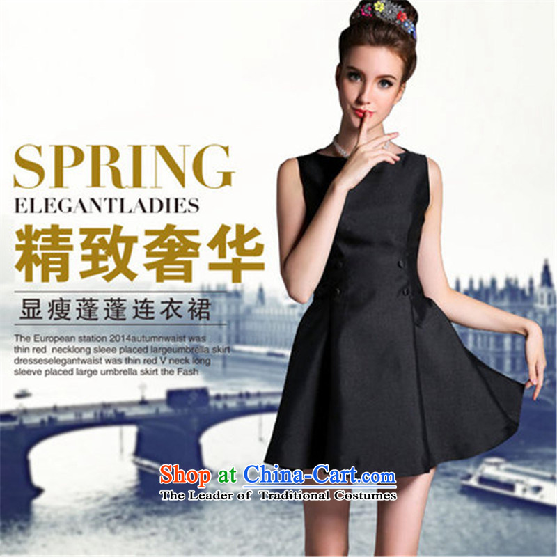 Connie, Texas real concept for summer 2015 new European site small incense wind graphics thin foutune even turning skirt sleeveless bon bon skirt dress black�XS