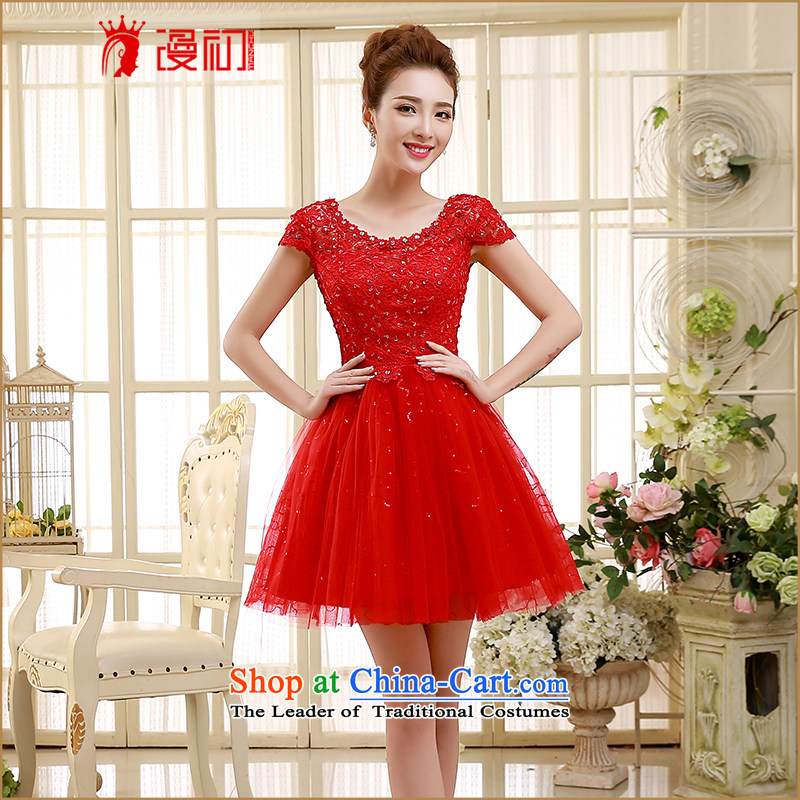 2015 new bridesmaid dress a field shoulder red lace short skirts on chip lace bon bon skirt straps small dress sister skirt RED聽M