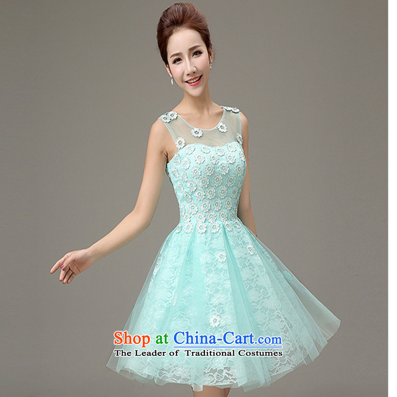 Toasting champagne bride services 2015 New Evening Dress Short, banquet style bridesmaid small dress bon bon skirt�XXXL skyblue clocks