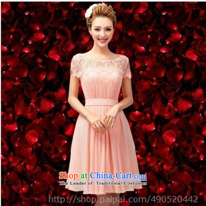 Wedding dress bows services 1 small dress stylish brides shoulder dress 2015 new bridesmaid Dress Short, edit the commodity pink?XXL