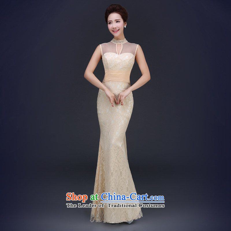 Jie mija evening dresses 2015 new long service bridal dresses bows crowsfoot shoulders gauze stylish wedding dress spring light yellow?L