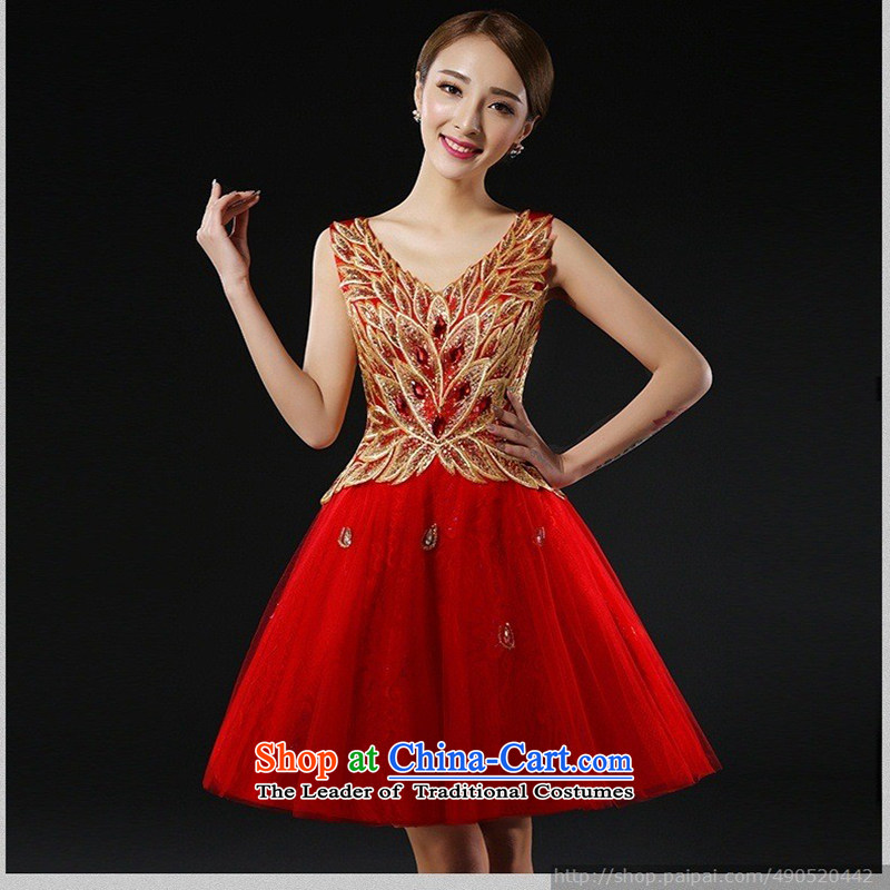 Wedding dress bride bows services 2015 New Evening Dress Short, banquet style bridesmaid small dress bon bon skirt燲XXL red