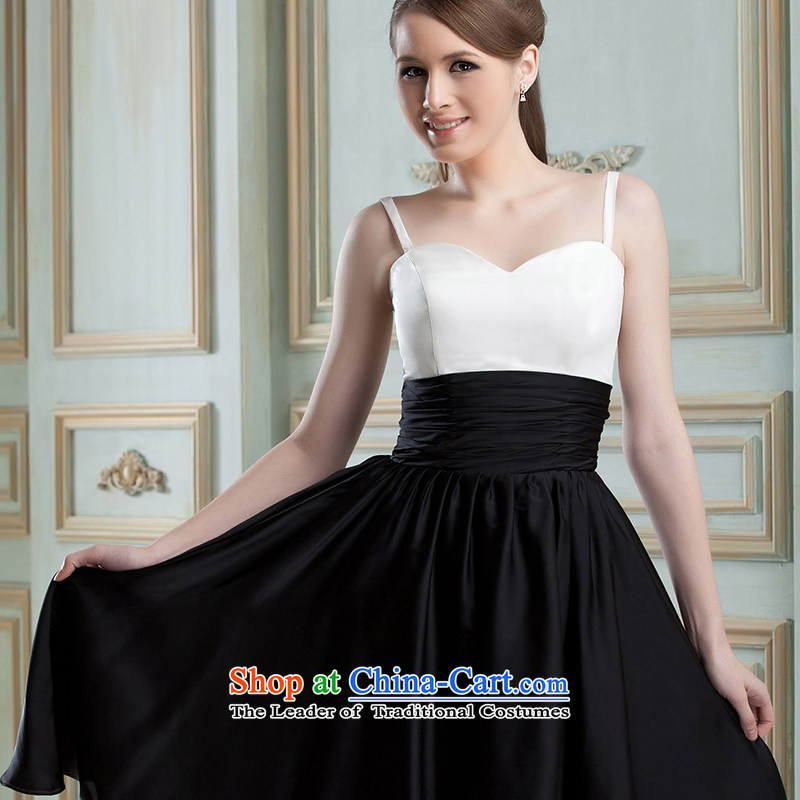 Hei Kaki�2015 New banquet dress continental shoulders evening dresses Love Mary Magdalene was chaired by annual concert chest dress skirt� FT01�Black and White�L