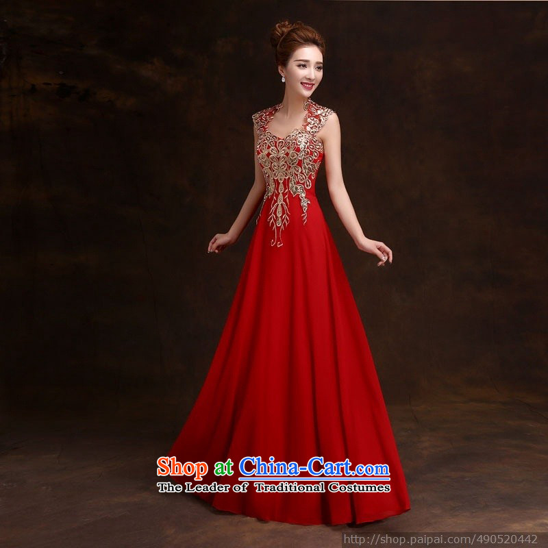 Wedding dress 2015 new winter bride wedding dress Sau San long red shoulders bows services evening dresses RED?M