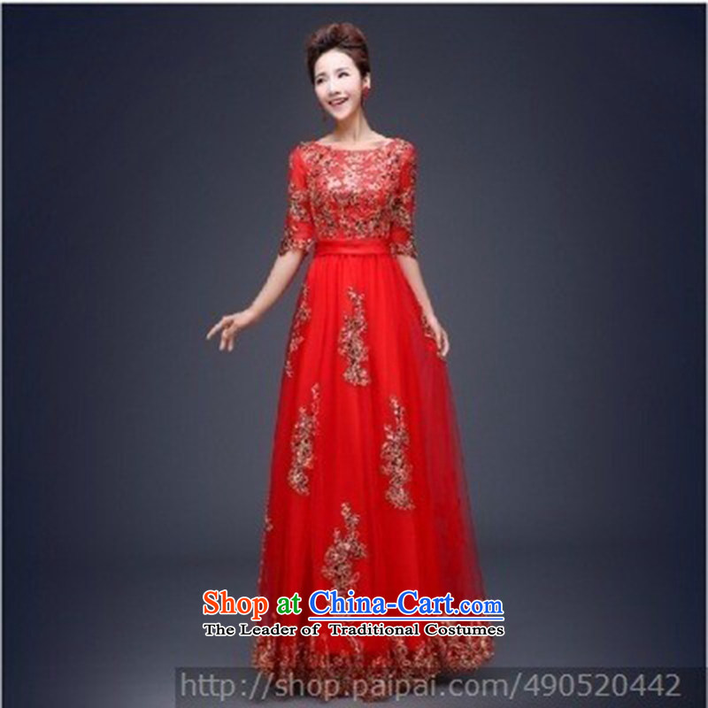 Ultra beautiful, wedding dresses, qipao and will, classically styled luxury with red dress long-sleeved?S
