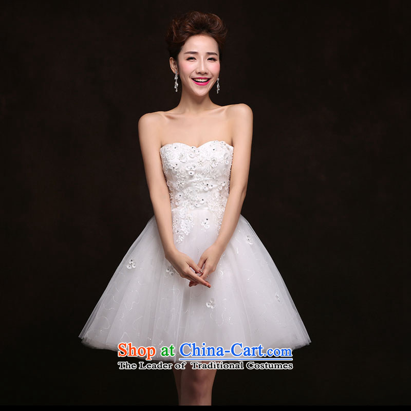 Qing Hua yarn bride short skirt married a small dress yarn evening dresses and stylish lace anointed chest bows bridesmaid service dinner services under the auspices of white?L