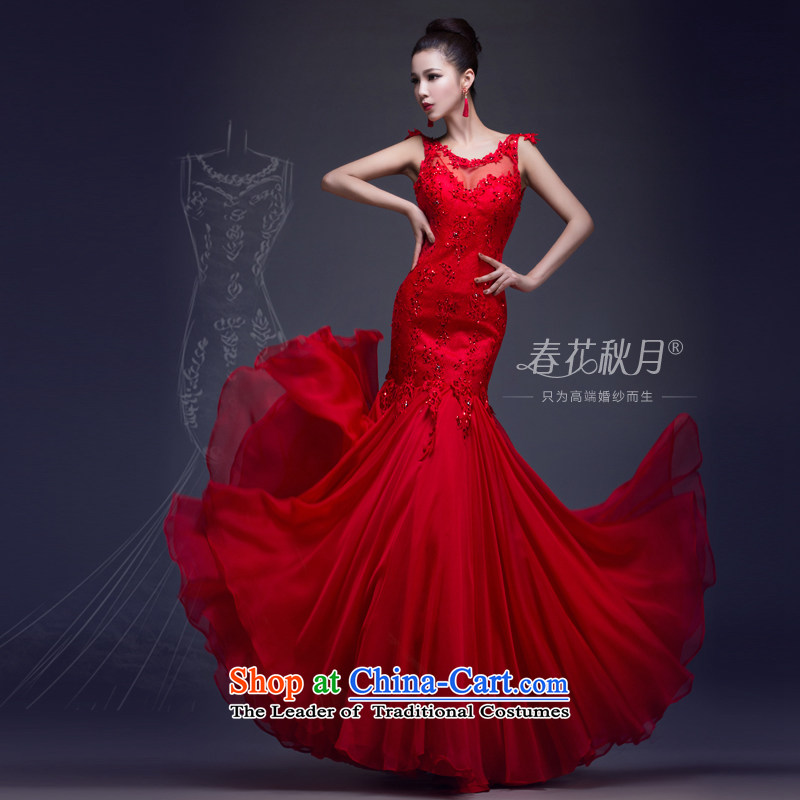 Crowsfoot wedding dresses marriage bows services annual spring evening dress bride new 2015 Long shoulders lace RED M