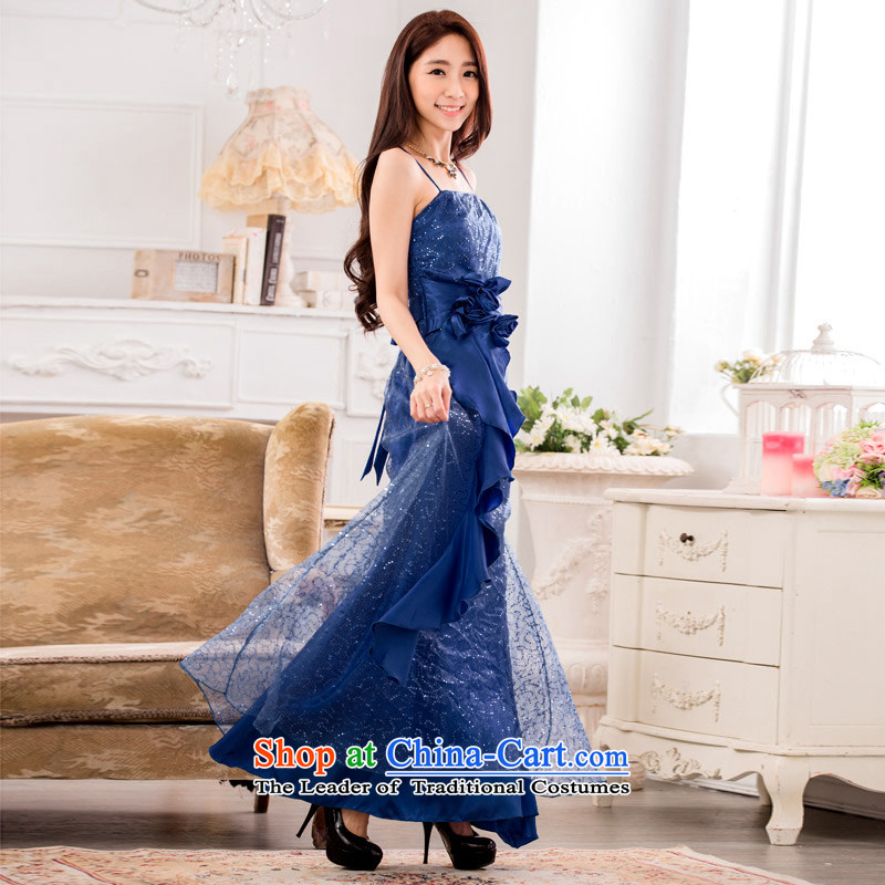 C.o.d. new large stylish light slice and the super star chest dresses xl straps long skirt dress wedding dresses evening drink white blue skirt?around 145-165 2XL catty