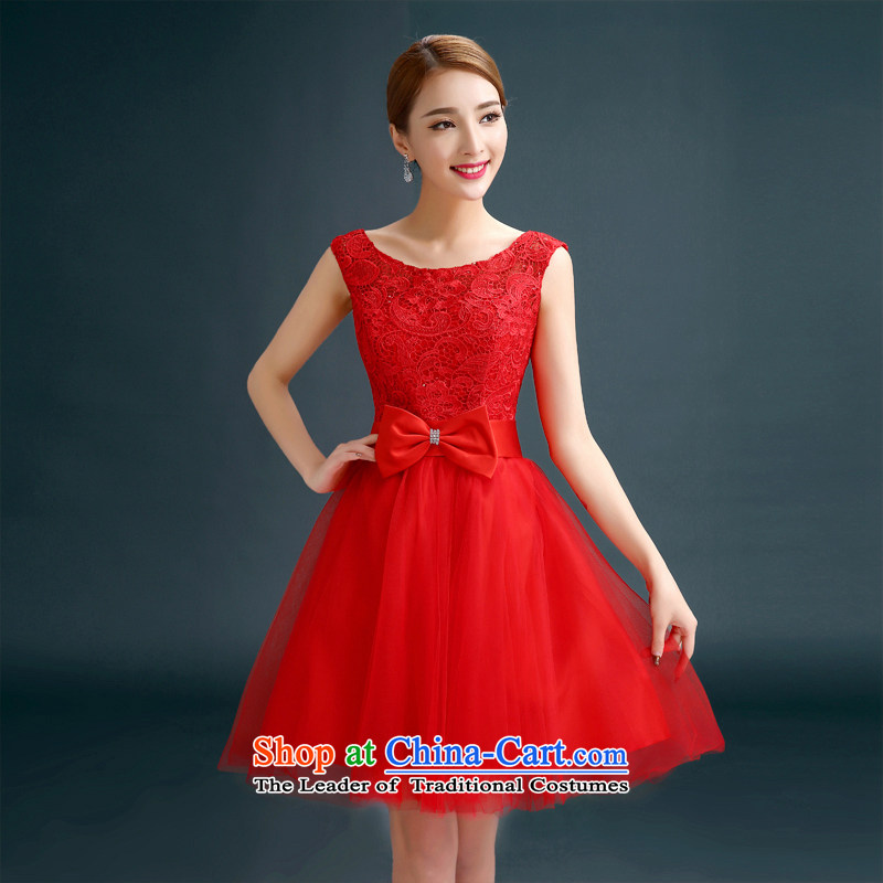 In spring and summer 2015 new bridesmaid dress Korean shoulders bridesmaid skirt sister mission small girl brides bows service dress RED?M