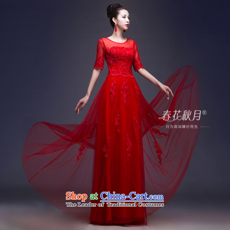 Red bride bows services bride stylish wedding dresses new 2015 Summer lace tie long long thin video  聽L
