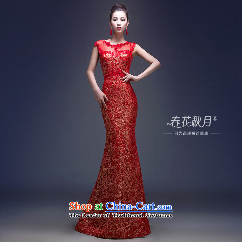 Wedding dress Bridal Services of the new spring) bows stylish wedding dresses long 2015, Sau San video thin red shoulders red?XL