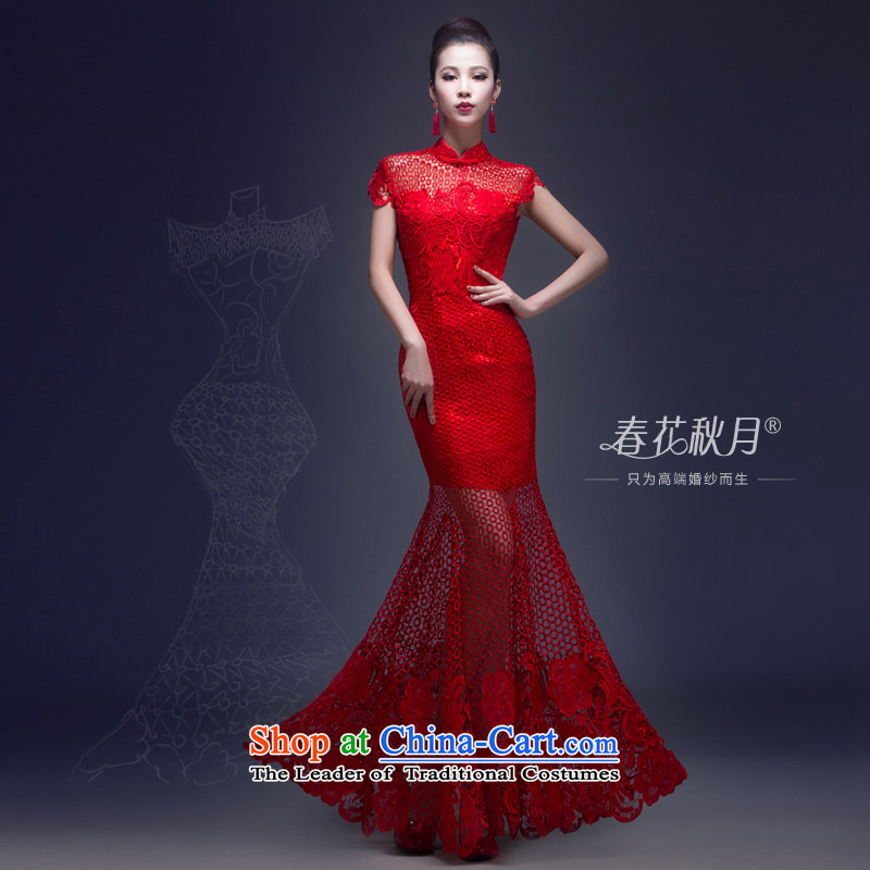 Chinese Version won bride services bows wedding dresses and stylish 2015 new lace sexy luxury crowsfoot dress Sau San long red�S