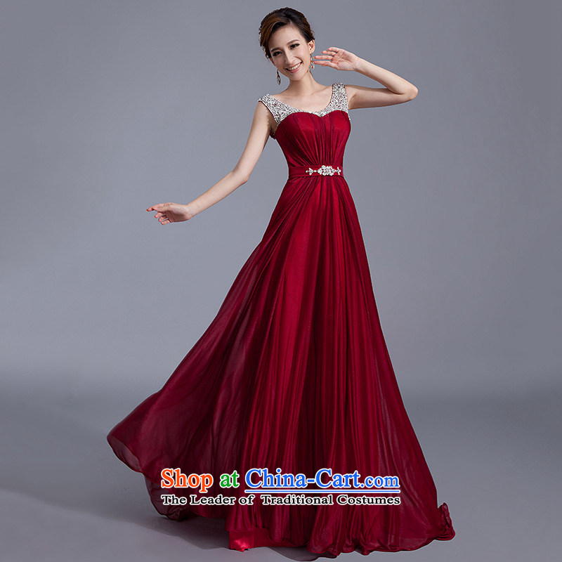 Evening dress bride wedding banquet bows Services New 2015 Sau San large graphics thin spring pregnant women Korean long wine red?S