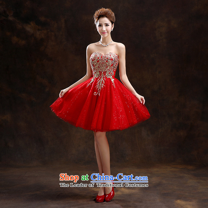Wedding dress 2015 new women's spring length of Sau San stylish wedding bride services toasting champagne evening dresses bridesmaid red?XXL