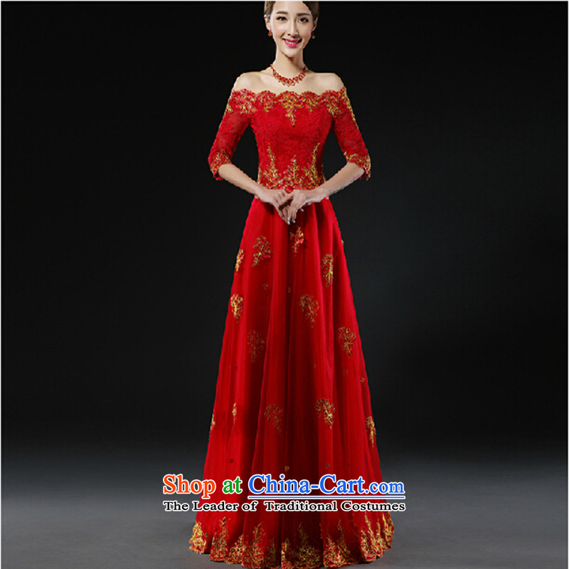 Toasting champagne bride services 2015 new wedding dress red trendy first field shoulder small Dress Short spring evening dresses female red long?L