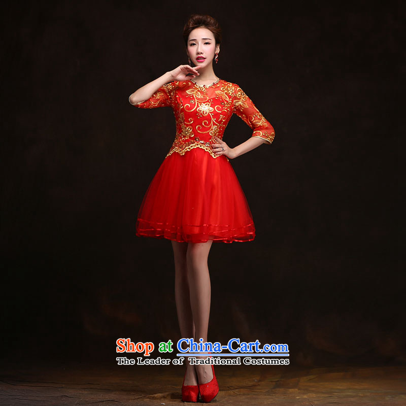 Qing Hua yarn in?spring and summer 2015 new short-sleeved red, stylish wedding dress qipao toasting champagne bridal services for red size does not accept return