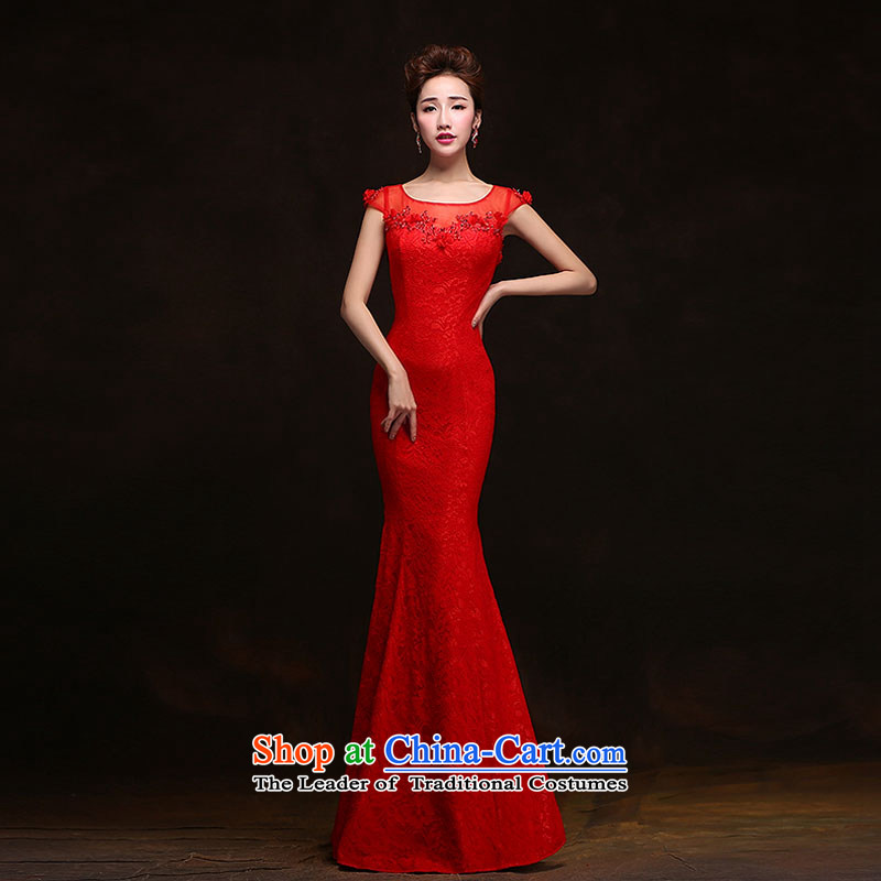 Qing Hua yarn evening dresses 2015 new long drink service bridal crowsfoot Sau San lace stylish wedding dress evening Welcome Red?XXL