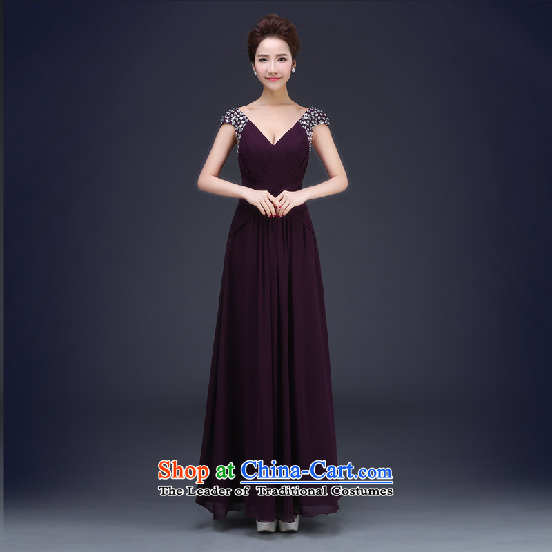 Jie Mija 2015 new stylish Long Purple deep bows services V bride moderator will dress Sau San banquet purple?XL
